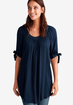 Tie-Sleeve Scoop Neck Tunic by ellos®,
