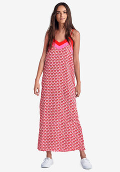 Colorblock Maxi Dress by ellos®, HOT RED PRINT