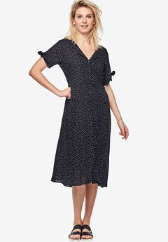 Tie-Sleeve Dress by ellos®, BLACK WHITE DOT