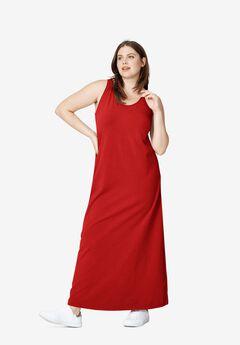 Tank Knit Maxi Dress, CHILI RED