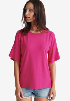 Cutout Shoulder Ribbed Tee by ellos®,