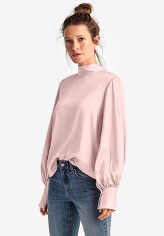 Satin Tie-Back Mockneck Blouse by ellos®,