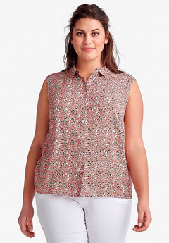 Sleeveless Button Front Blouse by ellos®, PEACH MIST DITSY