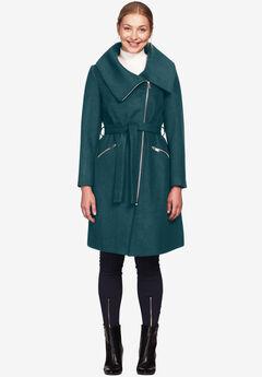 Asymmetrical Zip Belted Wool Blend Coat by ellos®, MIDNIGHT TEAL