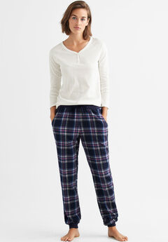 Plaid Flannel Sleep Pants by ellos®, NAVY MULTI PLAID
