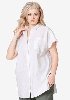 Oversized Linen Blend Tunic by ellos®,