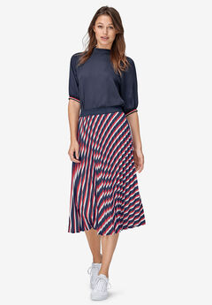 Pleated Midi Skirt by ellos®, NAVY MULTI STRIPE