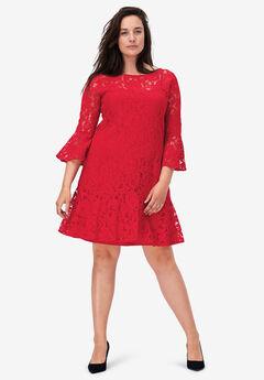 Flounce Hem Lace Dress by ellos®,