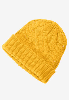 Cable Knit Hat by ellos®, SUNSET YELLOW