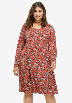 0abef5a0f0080 Printed Long Sleeve A-line Dress by ellos®