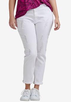 Boyfriend Jeans, WHITE DISTRESSED