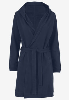 Hooded Fleece Robe by ellos®, NAVY