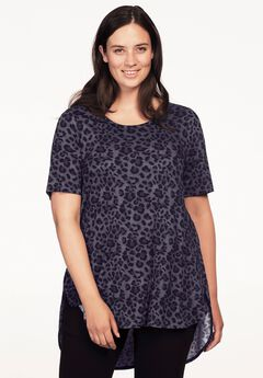 Short Sleeve Printed High/Low Tunic by ellos®,