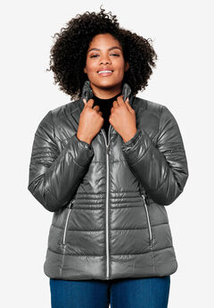 Short Puffer Zip Front Jacket, SLATE
