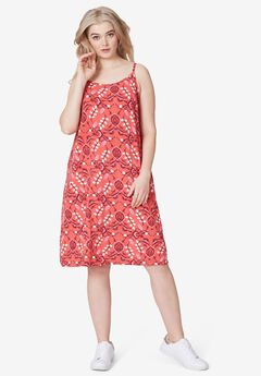Knit Tank dress by ellos®, LIPSTICK RED PRINT
