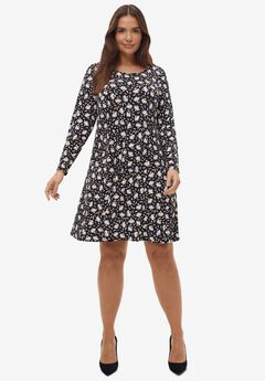 Long Sleeve A-line Knit Dress,
