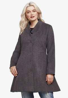 Notch Neck Fit and Flare Coat,
