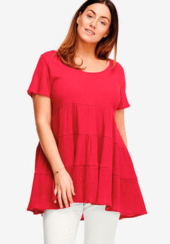 Tiered Gauze Tunic by ellos®,