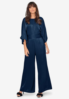 Satin Belted Jumpsuit by ellos®, RICH NAVY