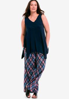 Pleated Wide Leg Knit Pants by ellos®, MULTI PRINT