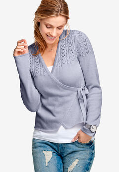 bbf486da95a Pointelle Wrap Cardigan by ellos®