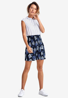 Smocked Waistband Skirt by ellos®, NAVY FLORAL PRINT