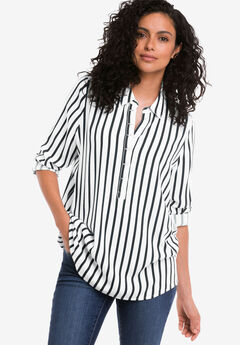 Button Placket Popover Tunic,