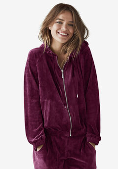 Velour Zip-Front Hoodie by ellos®, MIDNIGHT BERRY