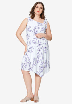 Shoulder Tie Dress by ellos®, WHITE FLORAL PRINT
