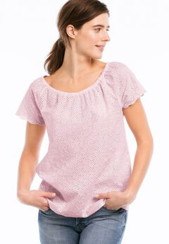 Ballet Neck Eyelet Blouse by ellos®,