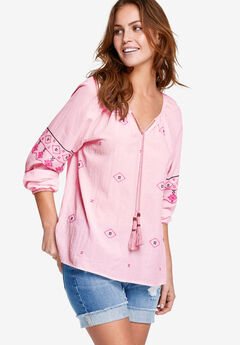 Embroidered Peasant Blouse by ellos®,
