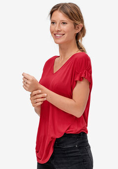 Gathered Sleeve Top by ellos®, PERSAN RED