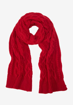 Cable Knit Scarf by ellos®, POPPY RED