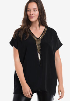 Gold Sequin Trim Tunic by ellos®,