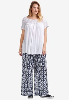 Pleated Wide Leg Knit Pants by ellos®,