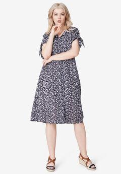 Tie-Sleeve Dress by ellos®, NAVY FLORAL