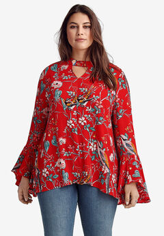 Flounce-Sleeve Blouse by ellos®, HOT RED FLORAL
