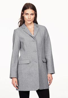 Long Wool Blend Blazer by ellos®, HEATHER GREY