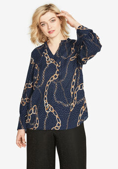Scarf Print Keyhole Blouse by ellos®, NAVY CHAIN PRINT