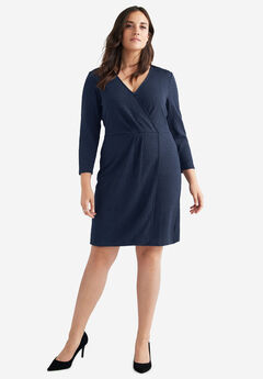 Faux Wrap Jacquard Knit Dress by ellos®,