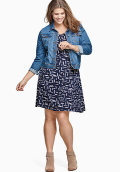 Short Sleeve A-Line Knit Dress by ellos®, NAVY PRINT