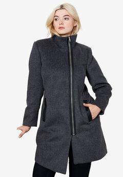 Asymmetrical Zip Wool Blend Coat by ellos®,