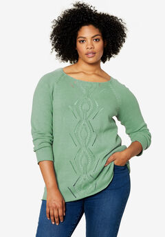 Ballet Neck Cable Front Sweater by ellos®, GREY SAGE