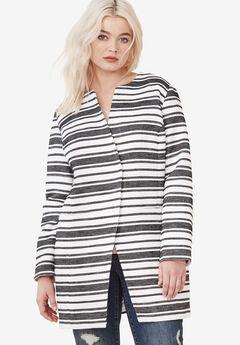 Mari Jacquard Striped Coat by ellos®, WHITE BLACK STRIPE