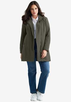 Taylor Zip Coat by ellos®, MIDNIGHT OLIVE