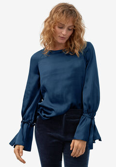 Tie-Sleeve Satin Blouse by ellos®,