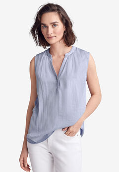Notch-Front Sleeveless Blouse by ellos®,