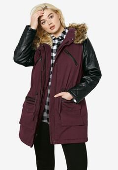 Quilted Faux Leather Sleeve Parka, DEEP MERLOT