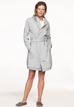 Hooded Fleece Robe by ellos®, HEATHER GREY