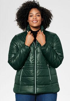 Short Puffer Zip Front Jacket by ellos®,
